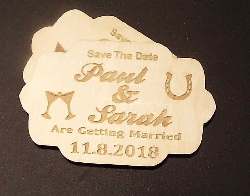 Wooden Save The Date Wedding Magnets VINTAGE PLAQUE shaped